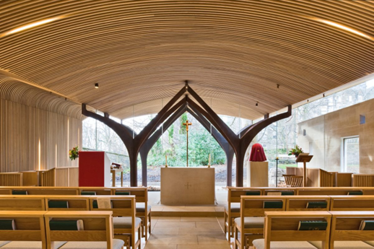 American white oak brings warmth to the new Chapel of St. Albert the Great in Edinburgh
