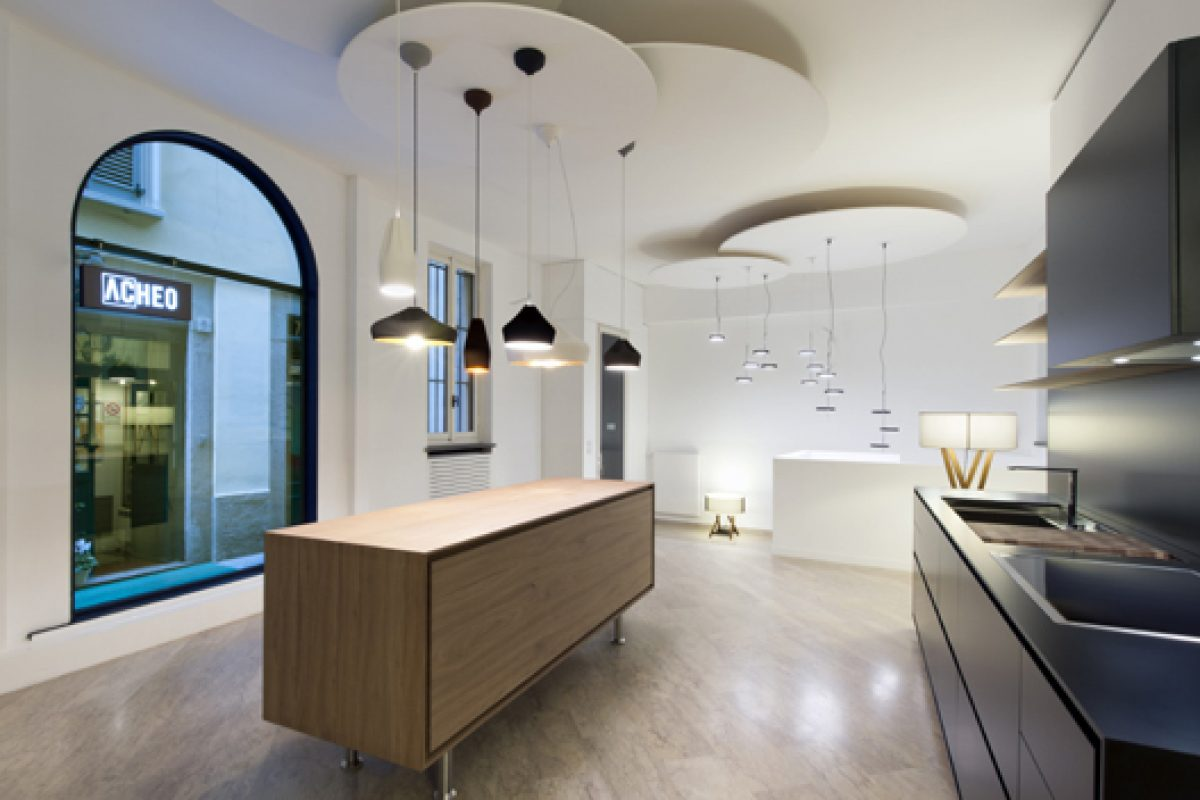 The Marset lamps are permanently displayed at the Acheo space in Milan