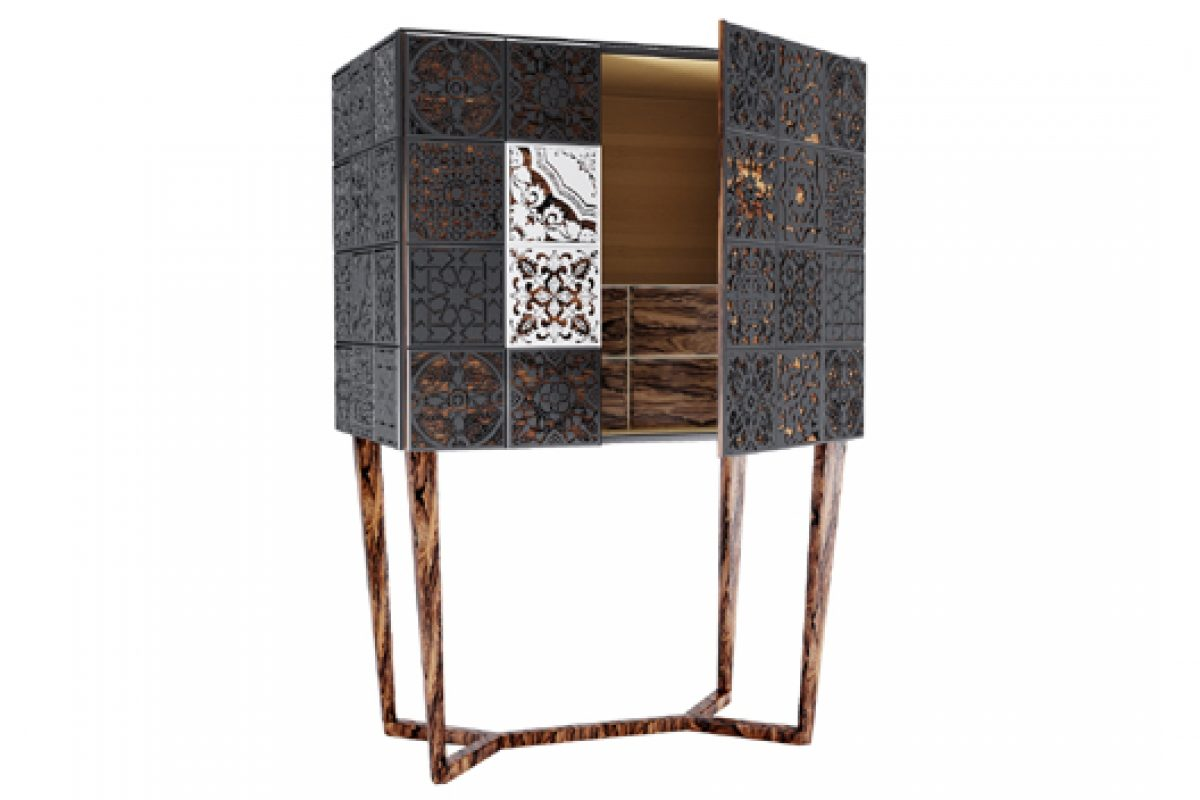 Tile and wood carving together in the luxurious cabinet Virtuoso by Malabar design brand