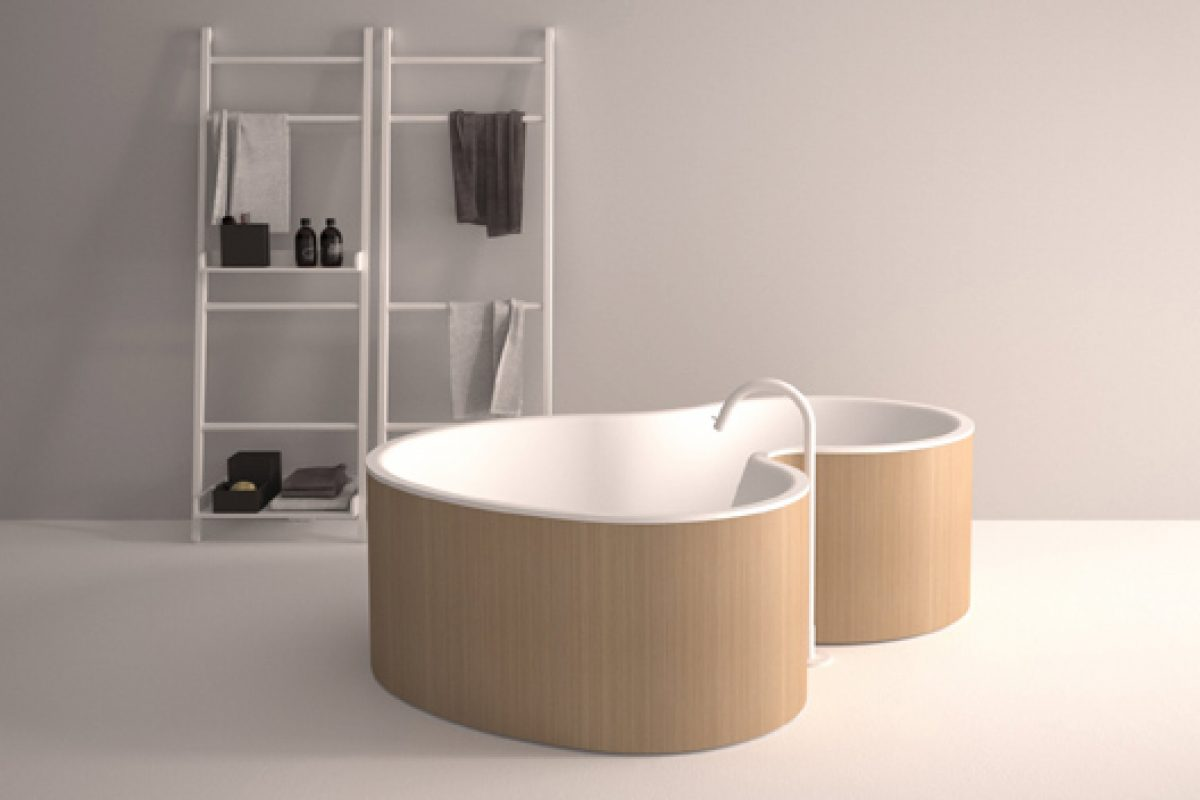 Agape presents the DR tub for two, designed by Brazilian studio MK27, Marcio Kogan