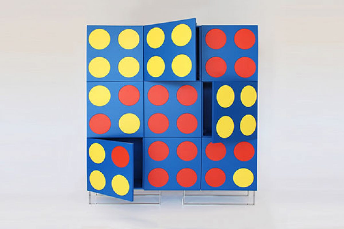 E1+E4 presents DISK36 designed by Luca Valota. A playful piece of furniture inspired by game Connect 4