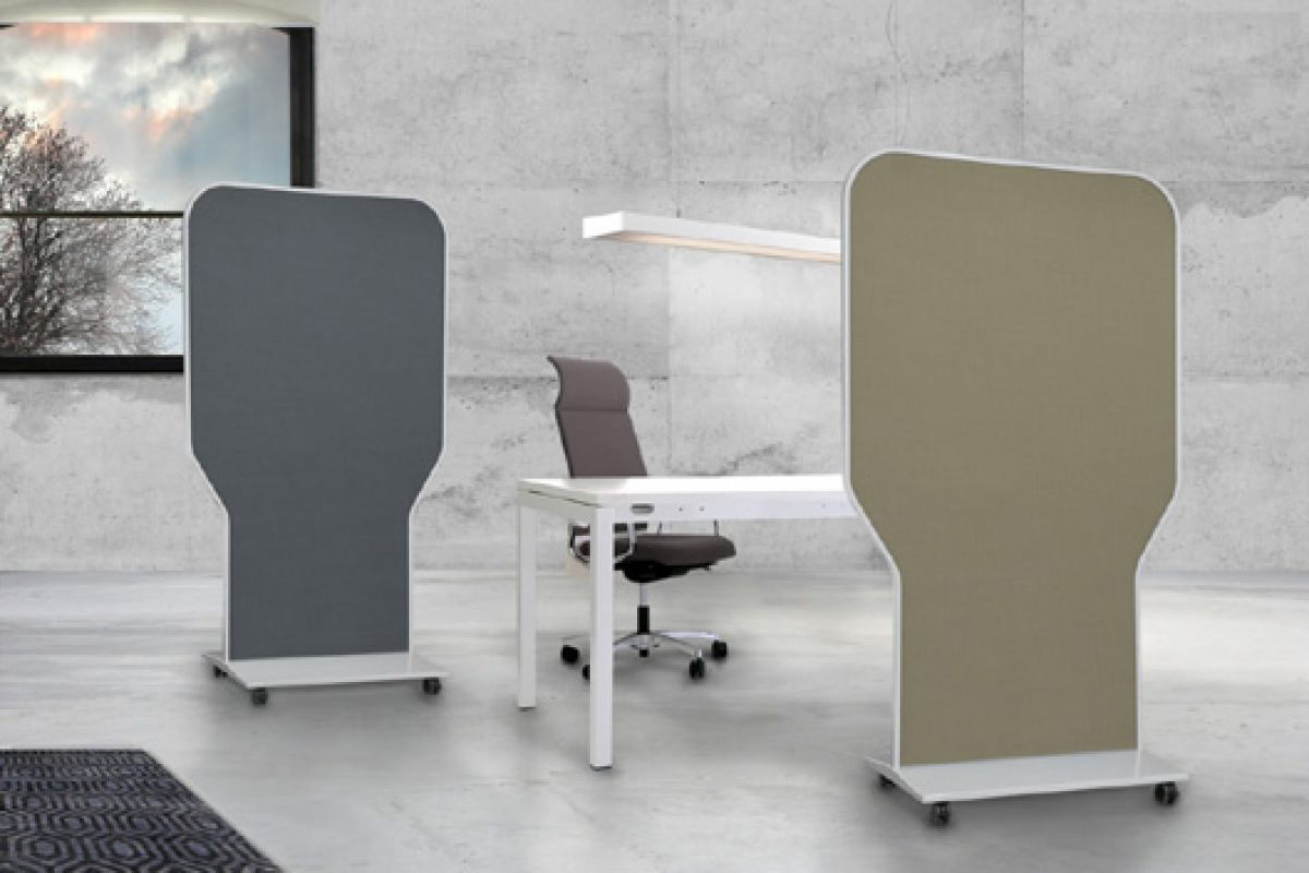 Sonar, the new upholstered acoustic movable separator designed by Héctor Diego for delaOliva