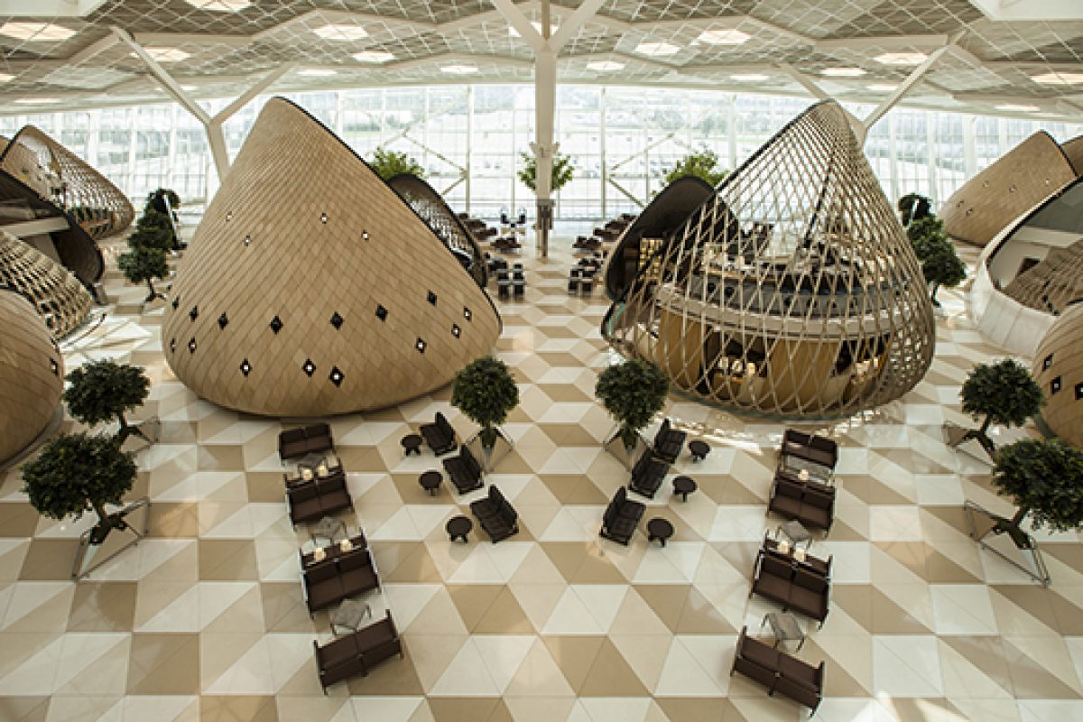 American white oak creates a cozy atmosphere at Heydar Aliyev Airport designed by Autoban