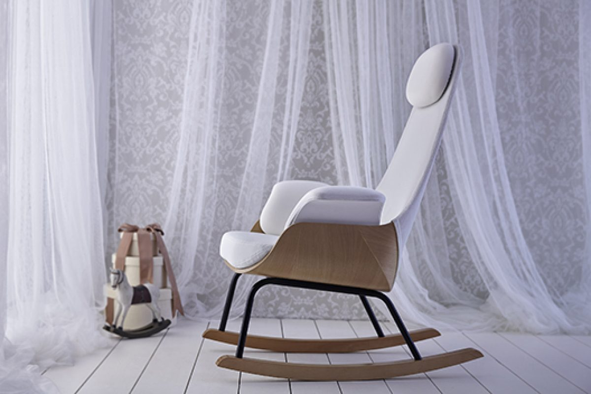Alegre Design redesigns traditional rocking chair for lactation with breathable fabrics and a light rocking motion