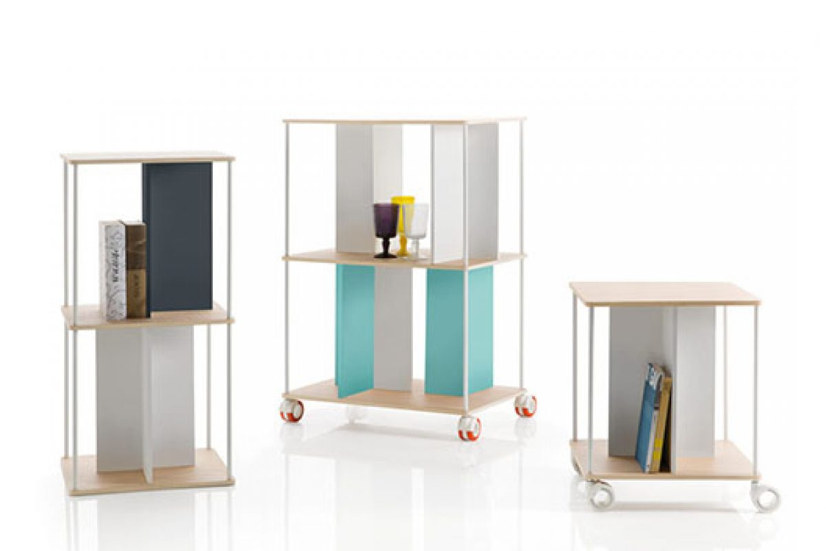 Domino, the modular shelving unit designed by Favaretto&Partners for B-Line that speaks the language of Mondrian