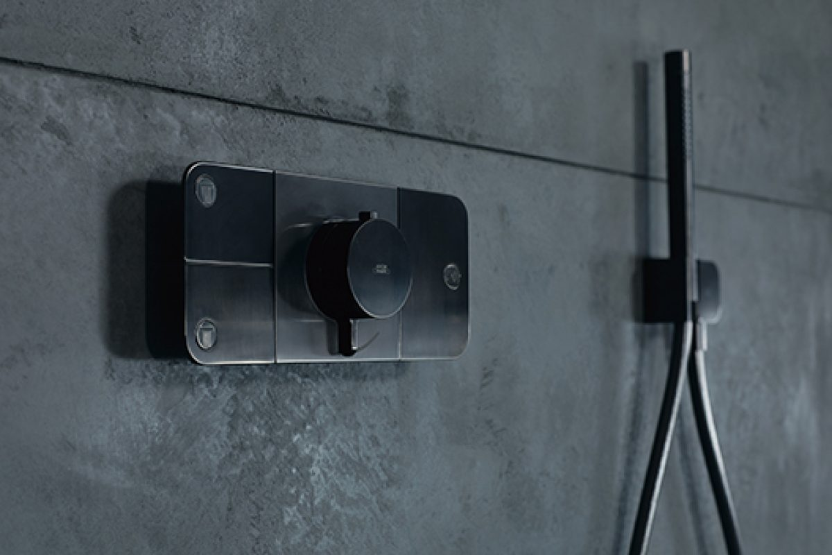 Axor One, the new interactive shower control element designed by Barber & Osgerby