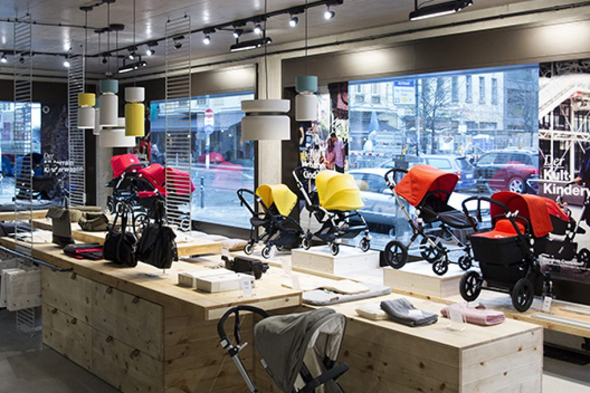 Aspen lamps by B.Lux light up Bugaboo's new store in Berlin designed by Werner Aisslinger