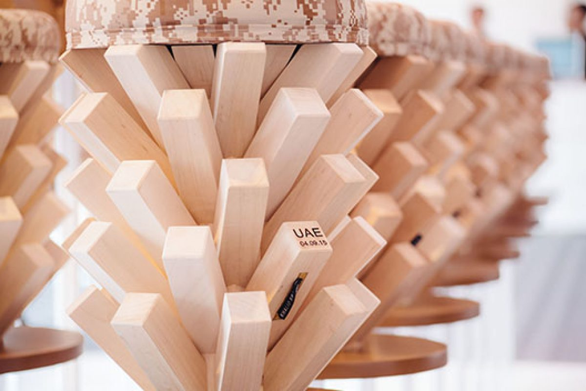 Khalid Shafar and Ahec present an installation of 45 crafted wooden stools in Downtown Design