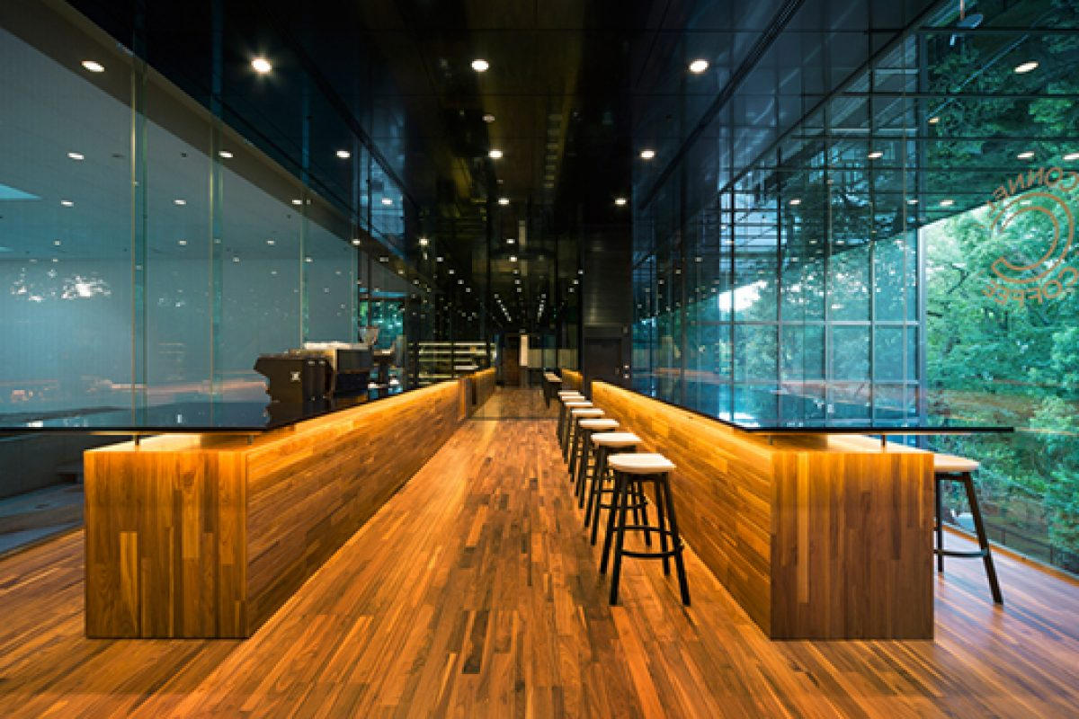 nendo designed the Connel Coffee at the building by Kenzo Tange in Tokyo. Maintaining and restoring classic designs
