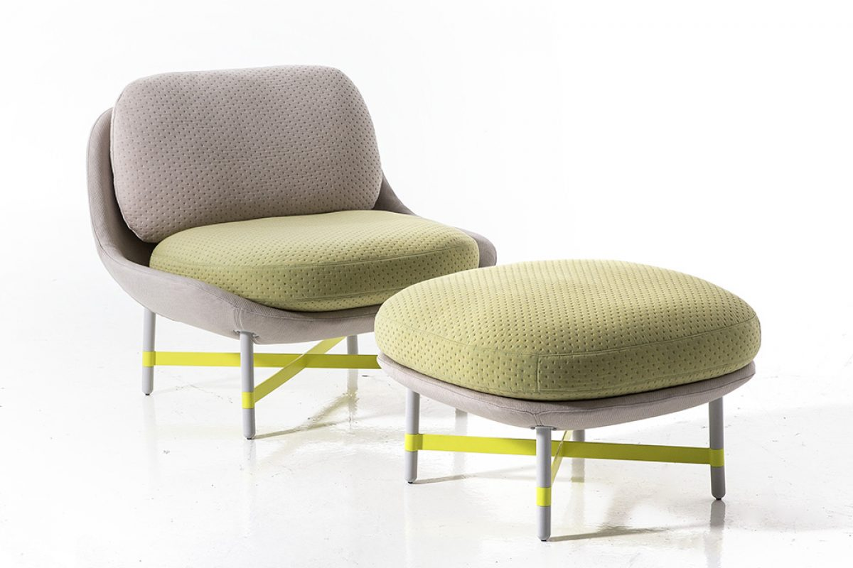 Ottoman by Scholten & Baijings for Moroso, a seat lower than usual with a special fabric