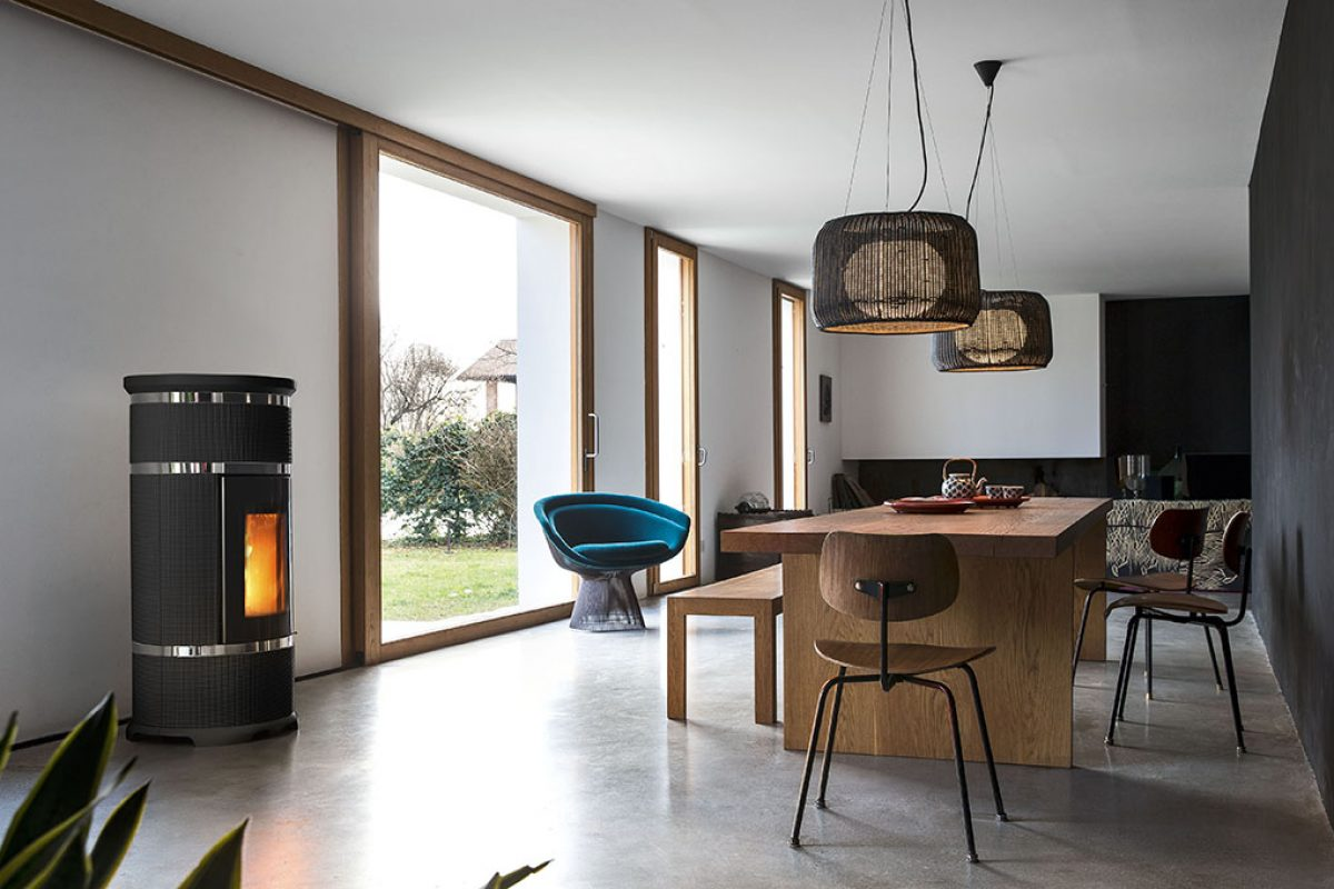 Maria Sofia, the stylish ceramic pellet stove by Monica Graffeo for Sergio Leoni