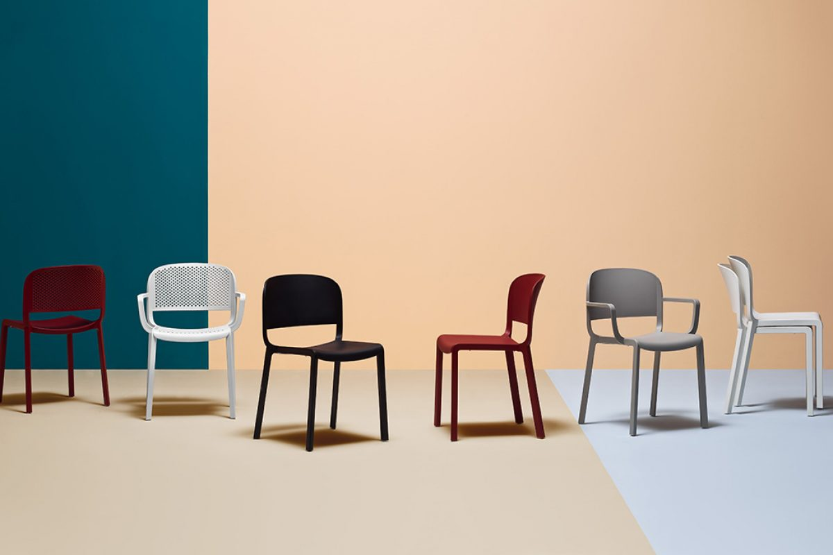 Odo Fioravanti designed Dome for Pedrali, a seat that brings back to mind traditional bistrot chair