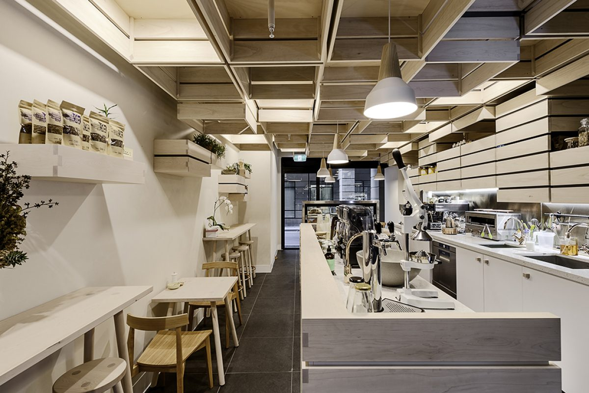 Kitayama K Architects designed a sustainable Café in Melbourne with a modern clean aesthetic