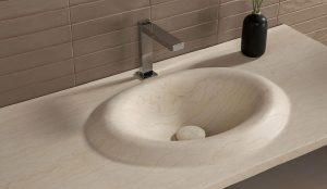 Organic and sinuous shapes in Drop & Wave washbasins by Dsignio for Harmony-Peronda