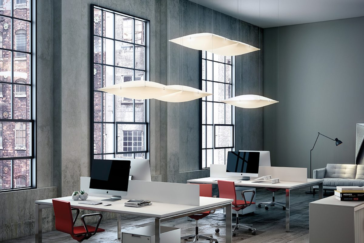 Clon, a floating ceiling lamp designed by Ciganda for B.lux