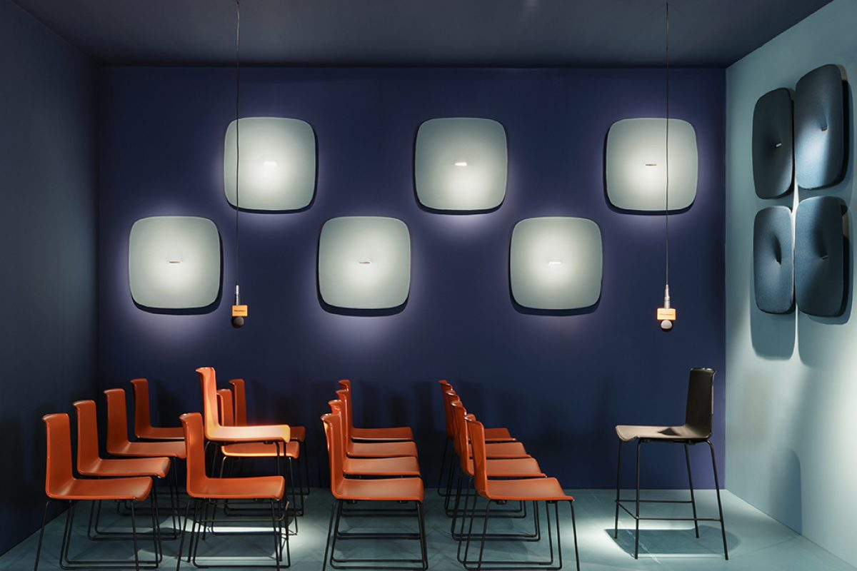 Snooze by Marcello Ziliani for Pedrali. A sound absorbing panel highly decorative