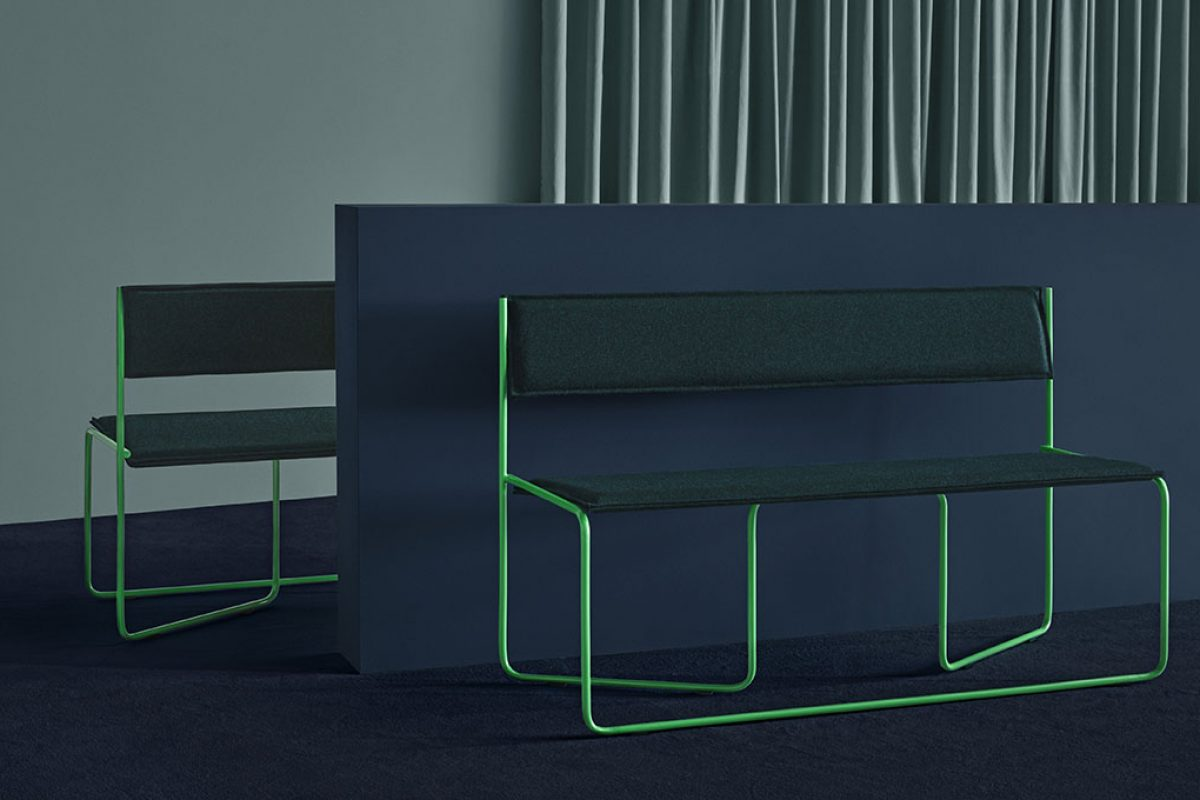 Missana takes a bauhaus twist with the Trampolín bench by Cuatro Cuatros