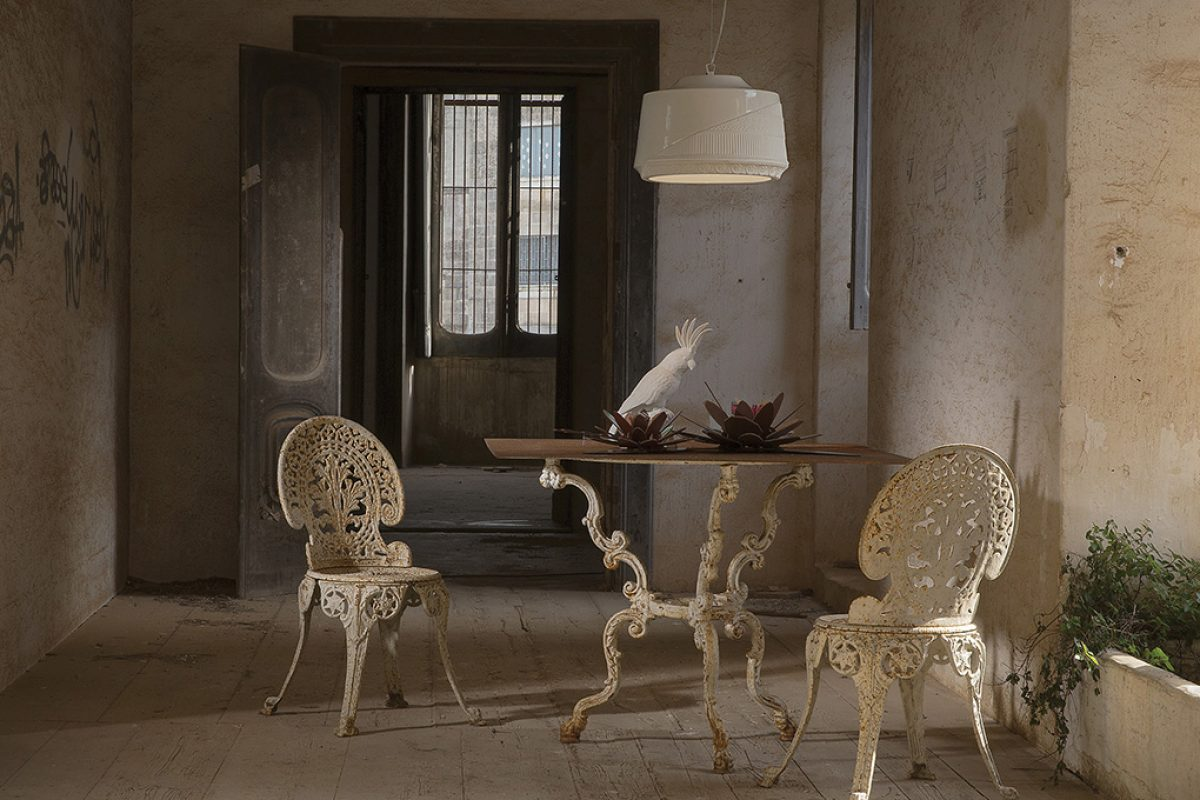 Allegories to the crinoline in Mademoiselle, the hanging lamp designed by Matteo Ugolini for Karman