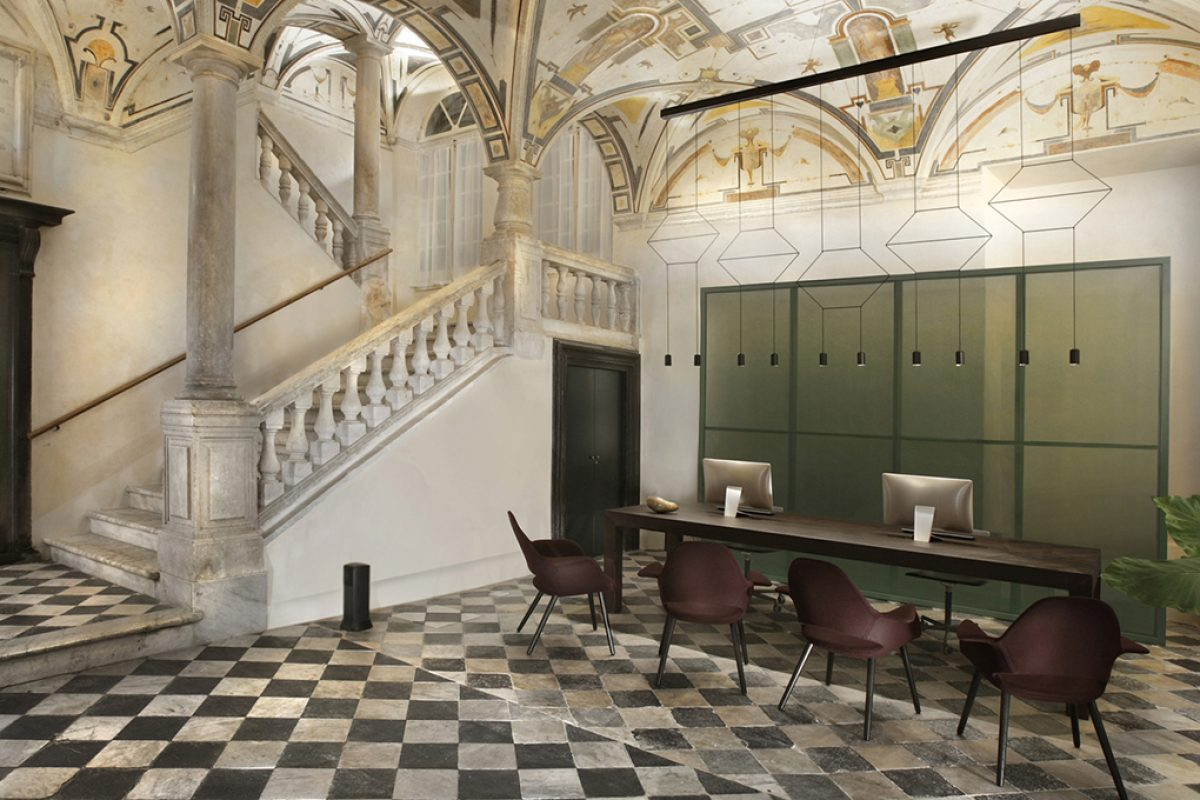 Timeless elegance and beauty illuminated by Vibia. Palazzo Grillo in Genoa, UNESCO World heritage Site