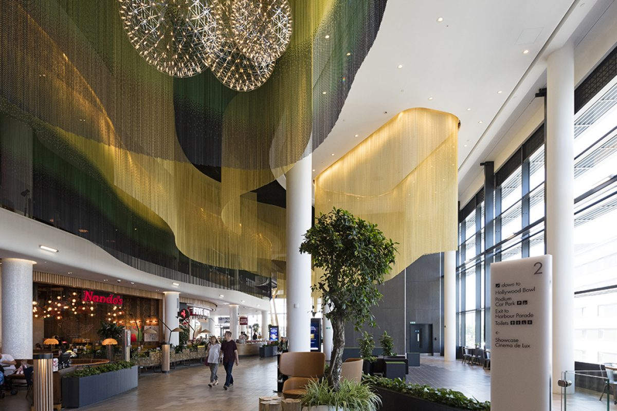 Kriskadecor chains flow in the ceiling of Southampton's Westquay Watermark long room designed by Michelle Taylor