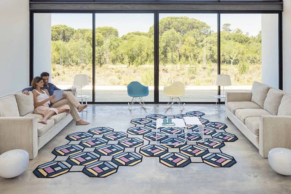 Parquet by Gan Rugs, a nod to geometry and its visual effects created by Swedish Studio Front