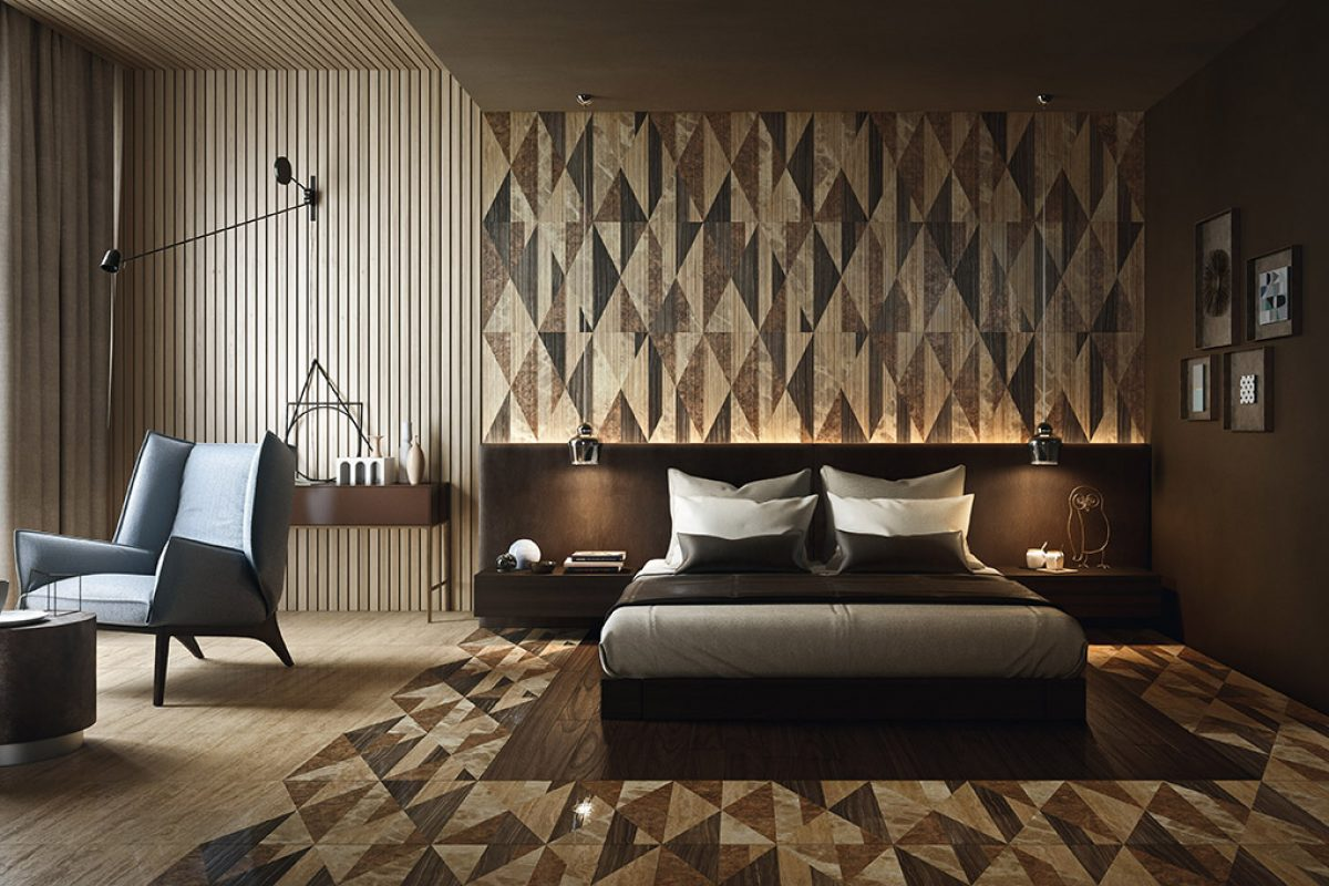 Unique, elegant claddings in natural stone and marble by Lithos Design in sleeping areas. Bethrooms with character