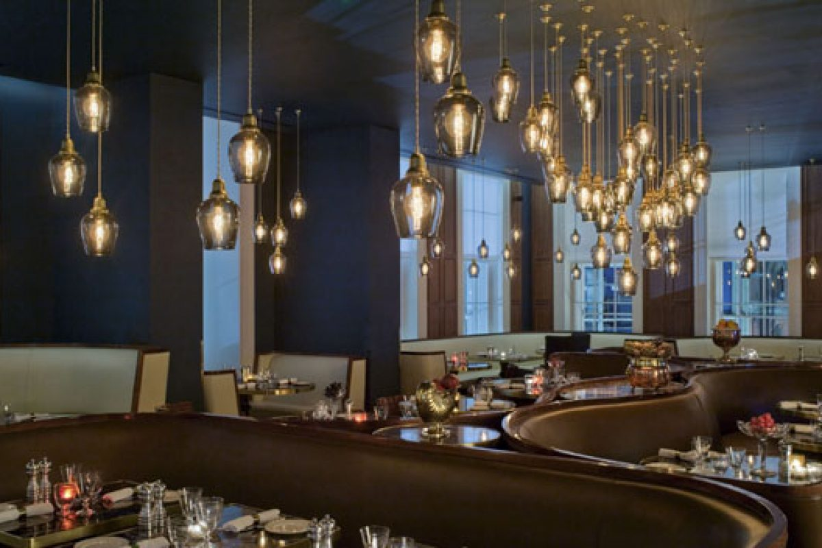 Fratelli Boffi's artistic furnishings decorate the restaurant of the Great Northern Hotel in London