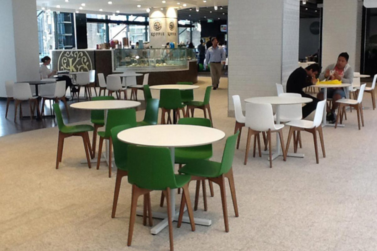 The chair Lottus Wood by Enea, thanks to the GECA certificate, reign in the newly opened Sydney Central Park Mall
