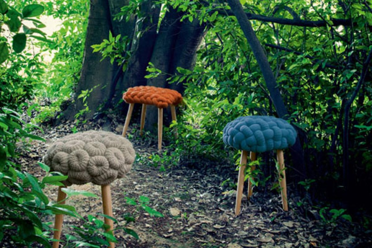 imm cologne preview: Knitted Stools by GAN Rugs. A creation by designer Claire-Anne O'Brien