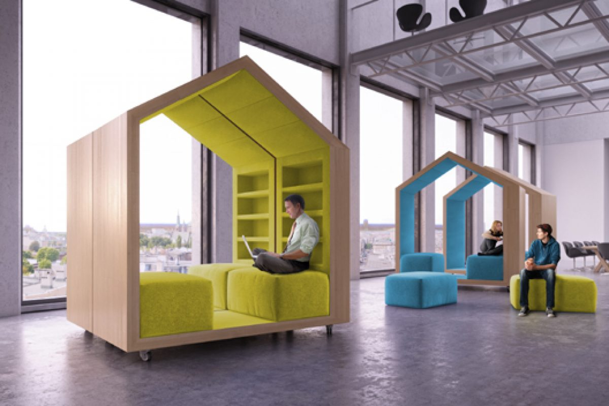 Designer Malcew is inspired by tree houses to create modular break out furniture pieces