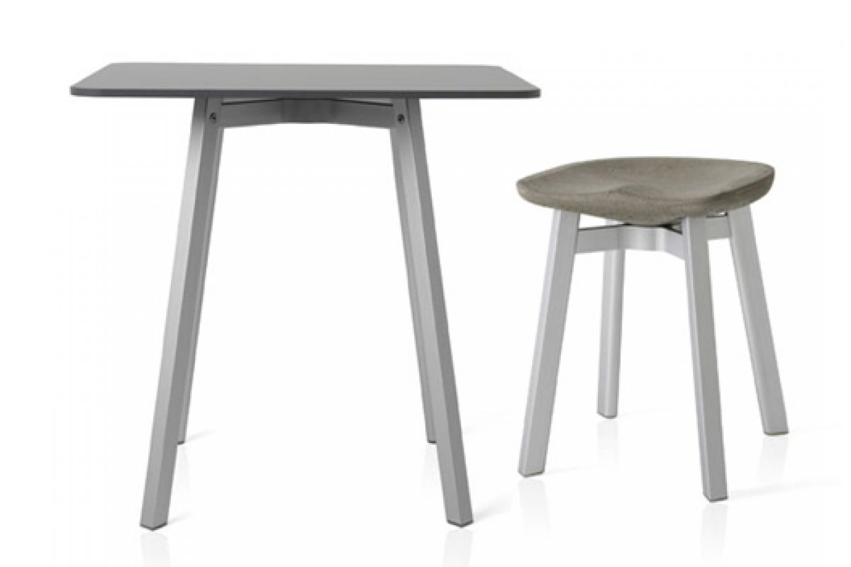 Emeco SU Collection. Stools and tables made with recycled and reclaimed materials, designed in collaboration with Nendo