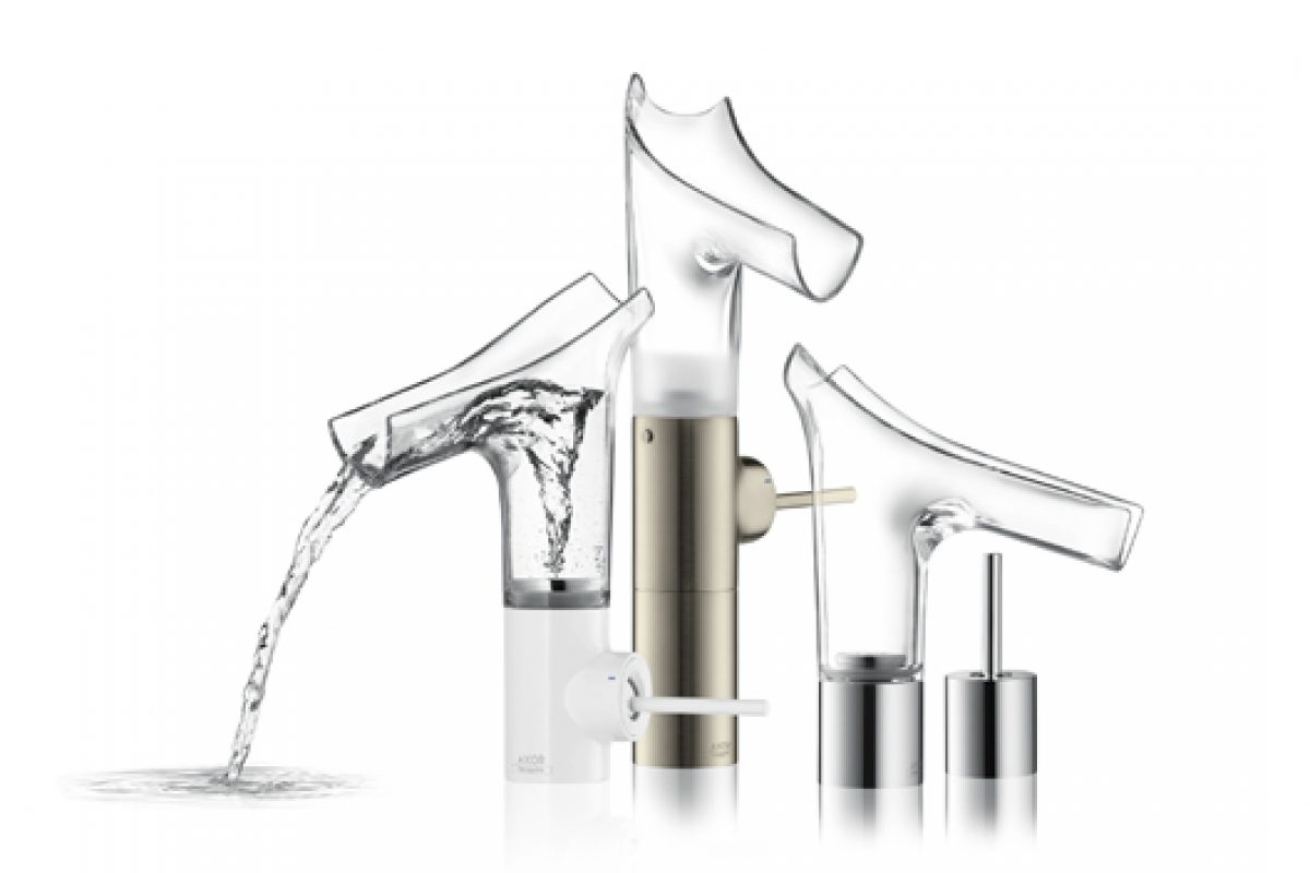 Axor Starck V, the first transparent washbasin mixer collection that introduces the vortex phenomenon