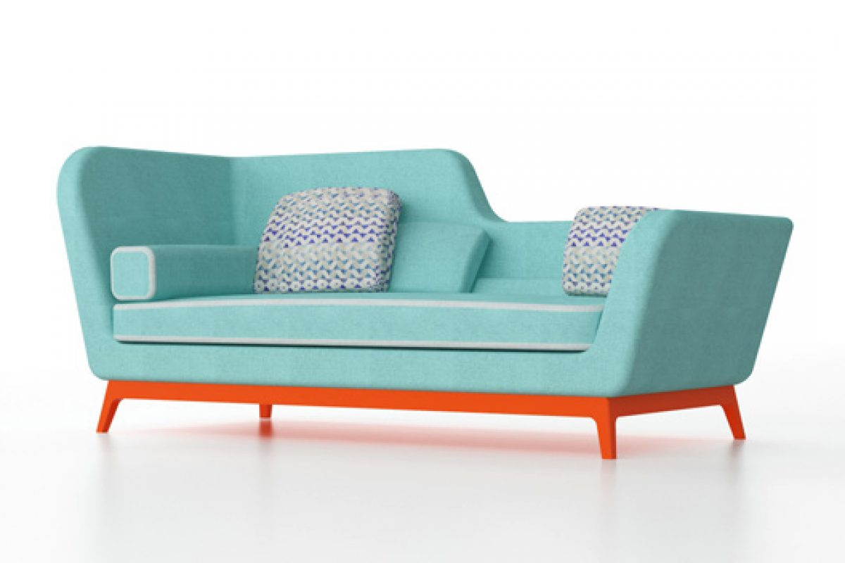 Jeremie, a sofabed design with art-deco touches, designed by Eric Berthes for Milano Bedding
