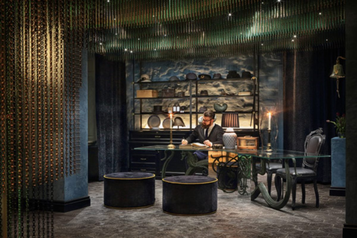The new Swedish Hotel Stora Hotellet, designed by Stylt Trampoli, shines with metallic curtains made by KriskaDECOR