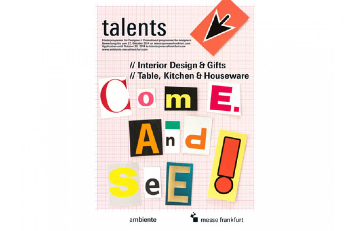 International careers launching pad: places in the Talents areas in the Dining and Living sections of Ambiente 2015 up for grabs again