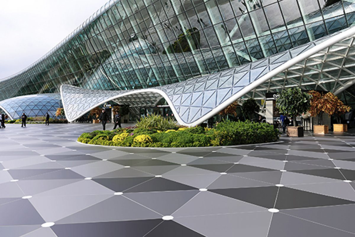 Dekton® by Cosentino dresses the exterior flooring of the Heydar Aliyev Airport in Baku, designed by Autoban212
