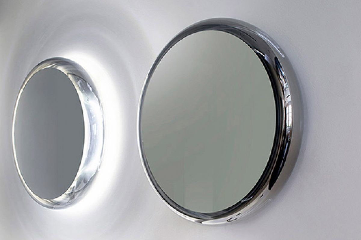 Solid, a mirror made in blown glass and metallic covering. A design by Diego Vencato & Marco Merendi for Agape