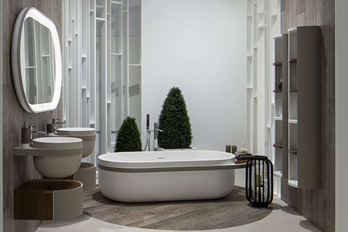 Estudi{H}ac designs the bathroom collection Aro with Krion Solid Surface by Porcelanosa
