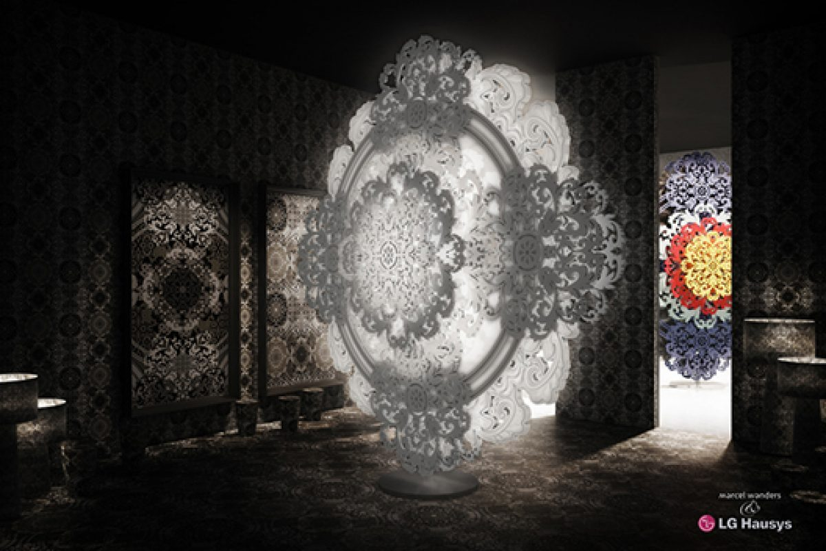 Marcel Wanders' rational and emotional worlds in sculptural art pattern for LG Hausys at Milan Design Week 2015