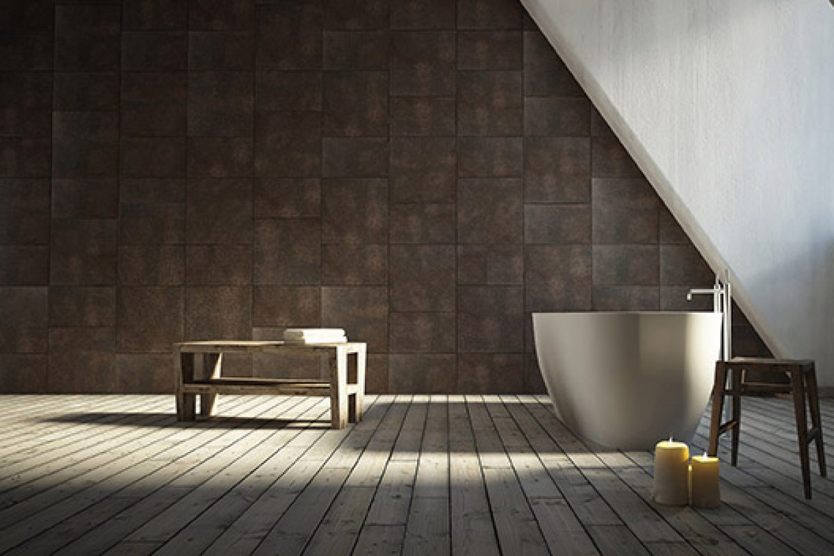 Your bathroom wears natural leather with Luna, by Lapèlle