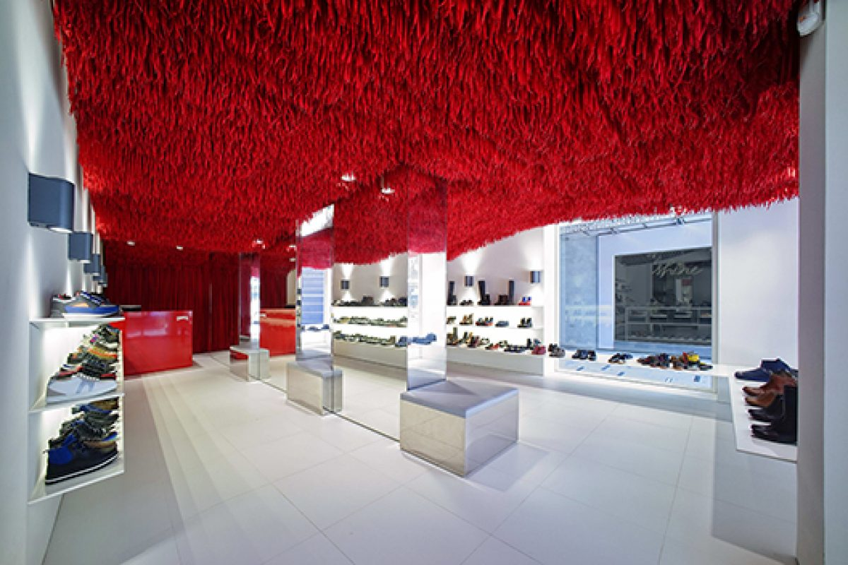 Atelier Marko Brajovic designs new Camper store in Melbourne with 30.000 red shoelaces hanging
