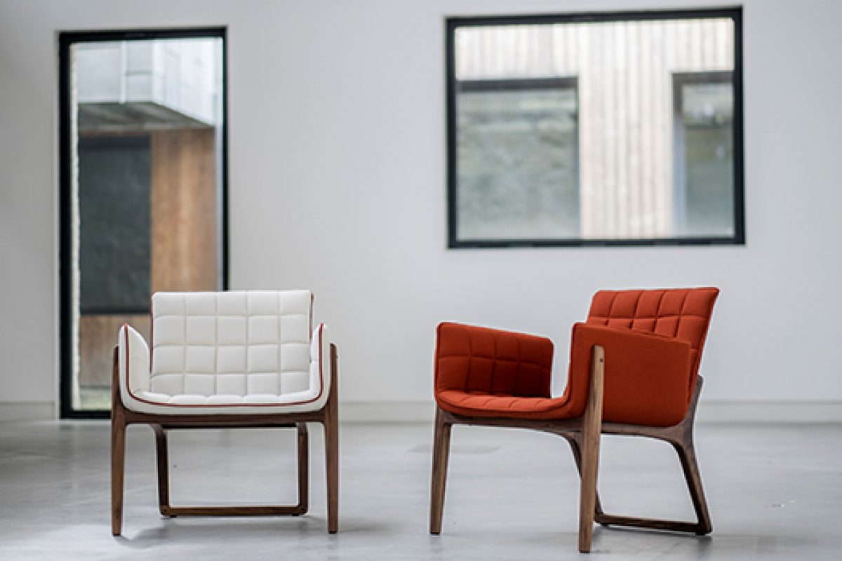 New retro look Mandarine armchair designed by Cláudia & Harry Washington for Two.Six