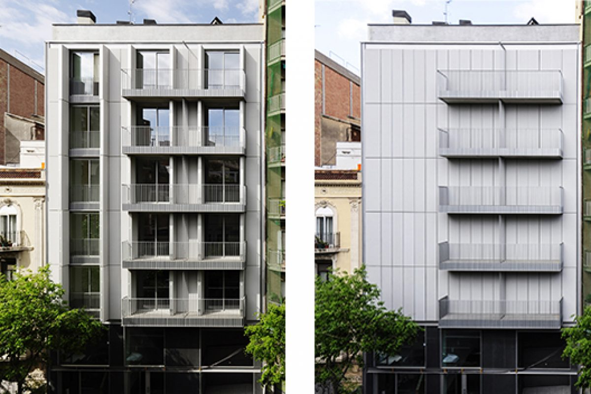 A residential building with textile façade, designed by AVA Studio, selected for the FAD Architecture Awards 2015
