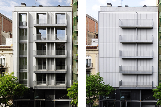 A Residential Building With Textile Fa 231 Ade Designed By