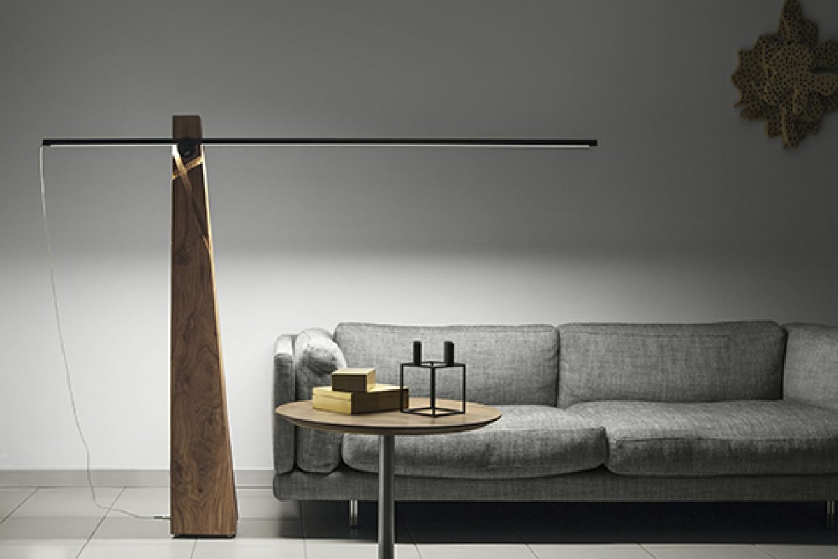 Recycled wood, technology and LED in Astolfo sculptural lamp, designed by Amedeo G. Cavalchini for Lumen Center Italia