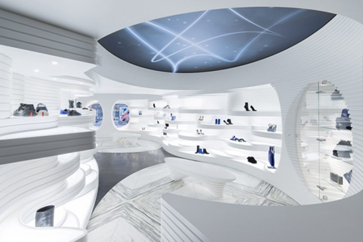 Shoebaloo, a Shoe Store with a New Dimension  Executed in HI-MACS® by MVSA Architects