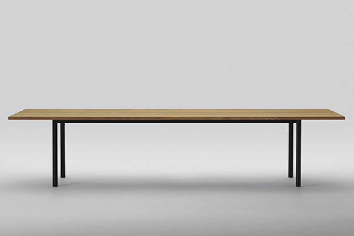 For the first time, Maruni combines wood with steel in Malta table, designed by Naoto Fukasawa