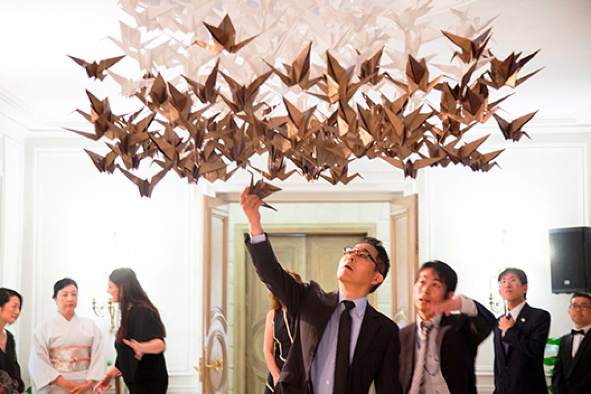 Empaperart flood of origami the Japanese ambassador's residence in Spain