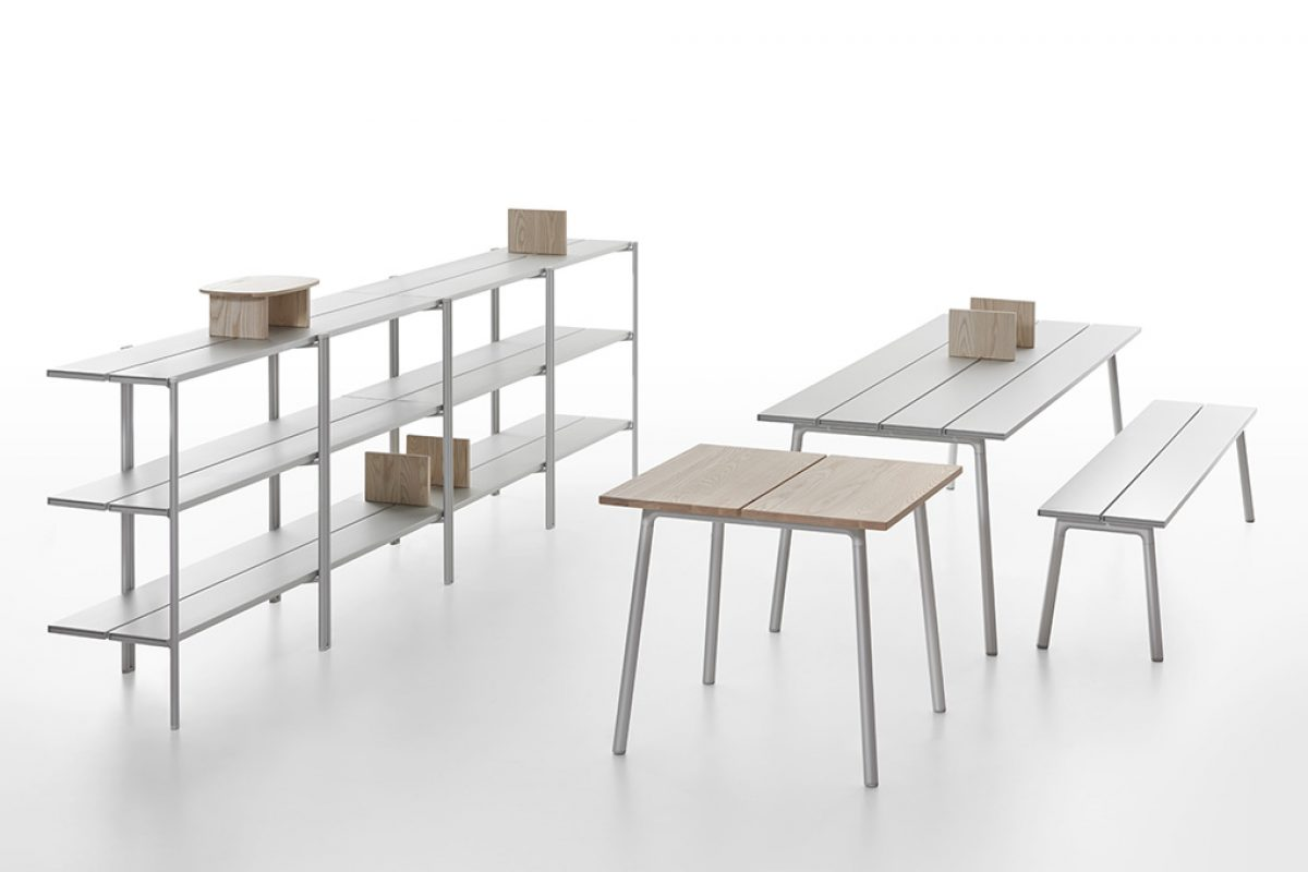 Run of Emeco, a collection of tables, benches and shelves by Sam Hecht and Kim Colin