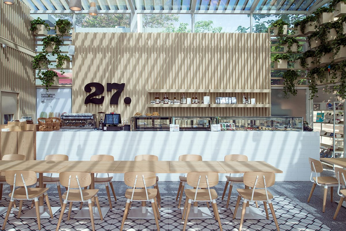 Cafe 27 Beijing by Four O Nine. A sustainable café inspired by a greenhouse